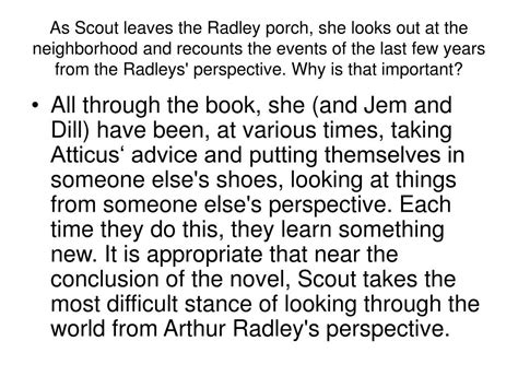 As Scout Leaves The Radley Porch ppt to kill a mockingbird powerpoint presentation id 308930