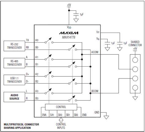 analog multiplexer integrated circuit max14778 dual 4 1 analog multiplexer maxim integrated mouser