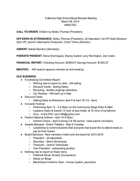 booster meeting minutes 3 26 14