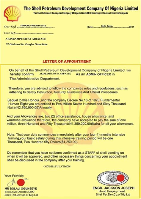 Employment Letter Nigeria Pleeeeeese Is This A Scamm Pls Urgent From Shell Vacancies Nigeria