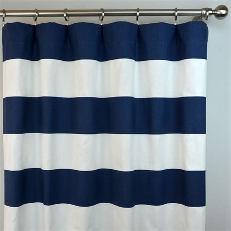 striped navy curtains navy blue white cabana horizontal stripe curtains rod pocket