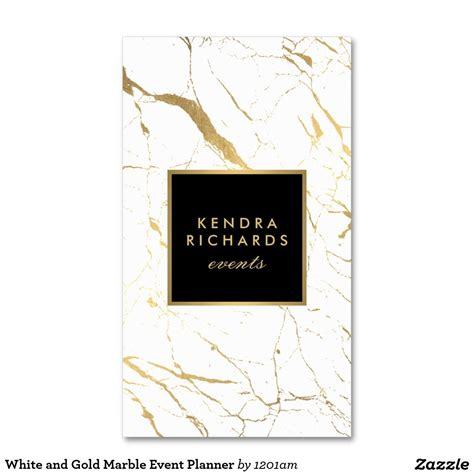 Pandemic Event Cards Template by White And Gold Marble Event Planner Business Card Gold