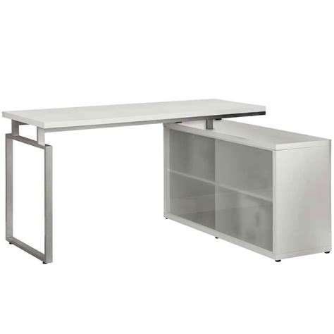 Frosted Glass L Shaped Desk Hollow L Shaped Desk With Frosted Glass In Desks And Hutches