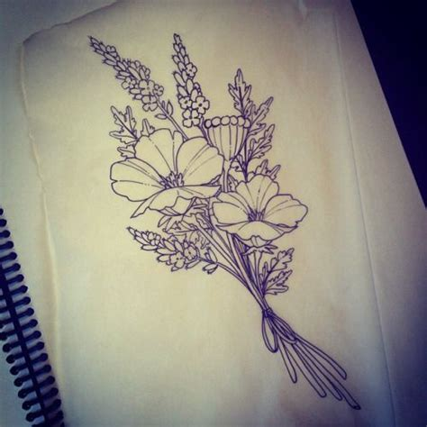 bouquet tattoo birth flower bouquet tattoos