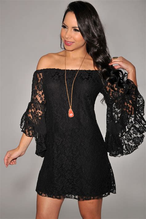 Dress Out Shouldersexy Dressshort Dressmini Dress dear lover wholesale black lace the shoulder mini dress