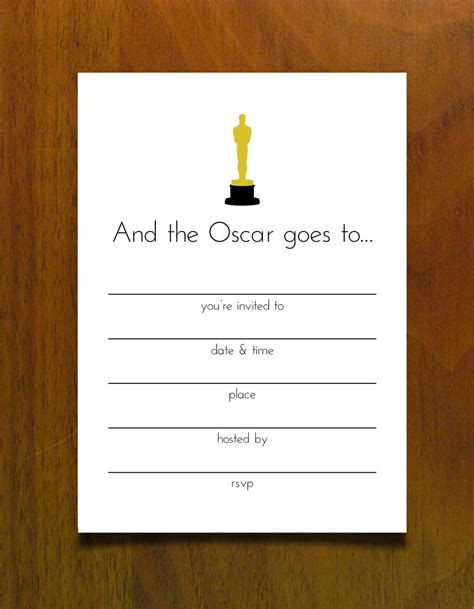 Free Printables For An Oscar Party Invite Oscars Free Oscar Party Pinterest Oscar Party Oscar Awards Invitation Template