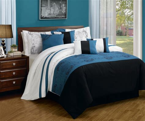 simple bedroom with cal king black blue teal floral