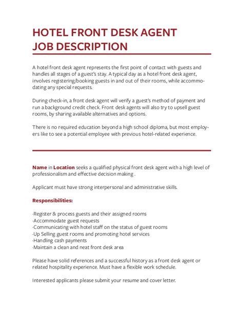 Sle Resume Objectives For Front Desk hotel front desk resume sle 28 images front desk