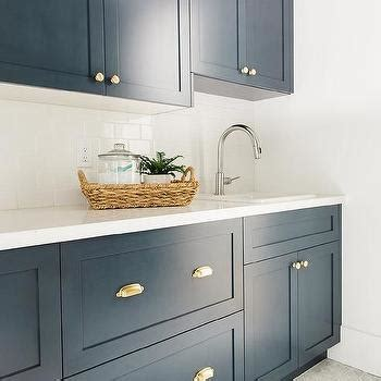 White Cabinets With Copper Cup Pulls Design Ideas Navy Laundry