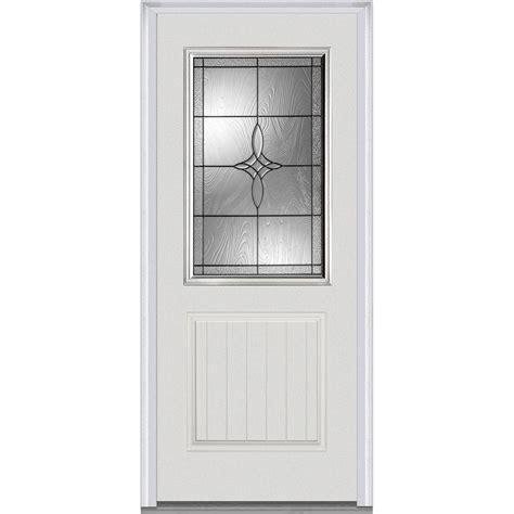 Fiberglass Exterior Doors With Glass Mmi Door 37 5 In X 81 75 In Lenora Decorative Glass 1 2 Lite 1 Panel Planked Primed Fiberglass