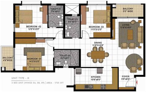 casa bella floor plan 1735 sq ft 3 bhk 3t apartment for sale in prestige group