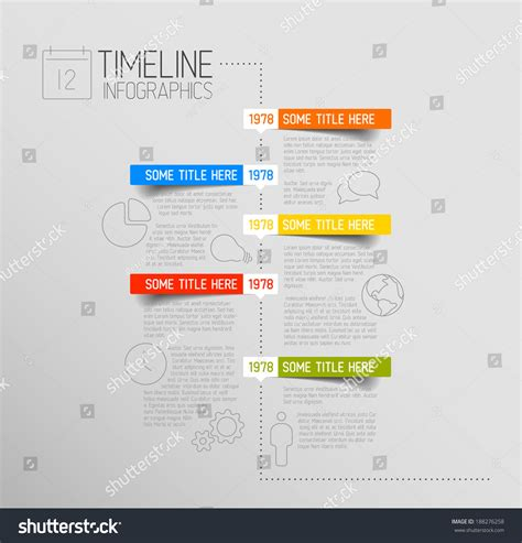 timeline report template vector infographic timeline report template icons stock