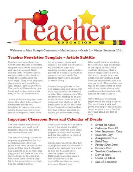 15 Free Microsoft Word Newsletter Templates For Teachers School Xdesigns Elementary Newsletter Templates
