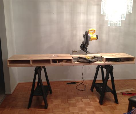 bench chop saw build a miter saw table i made it at techshop 4 steps