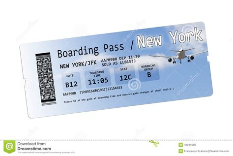 boarding nyc airline boarding pass tickets to new york isolated on white stock illustration image