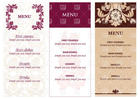 menu design eps file set of vintage restaurant menu templates royalty free