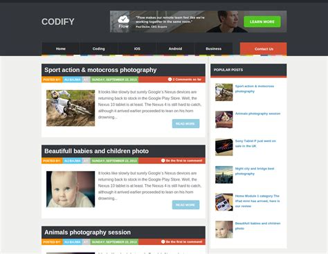 templates for blogs codify template templates gallery