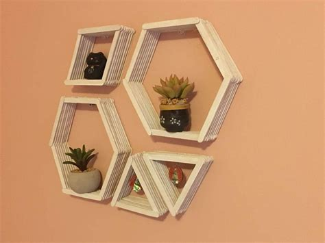 diy crafts with popsicle sticks diy geometric wall shelves shelves easy and patterns