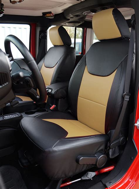 Custom Seats For Jeep Wrangler Jeep Wrangler 2013 2016 Black Beige Leather Like Custom