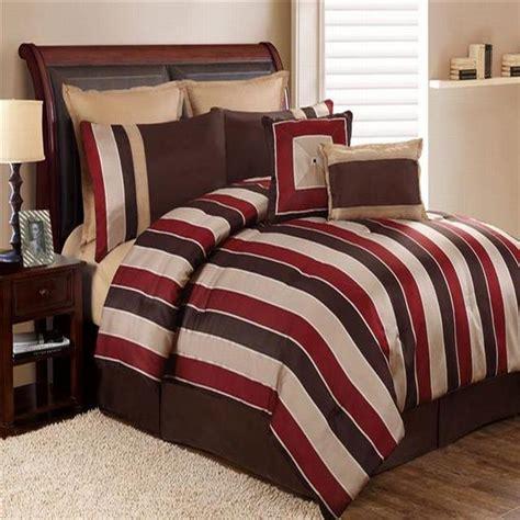 burgundy and brown comforter set carlton stripe burgundy brown 8 piece queen comforter