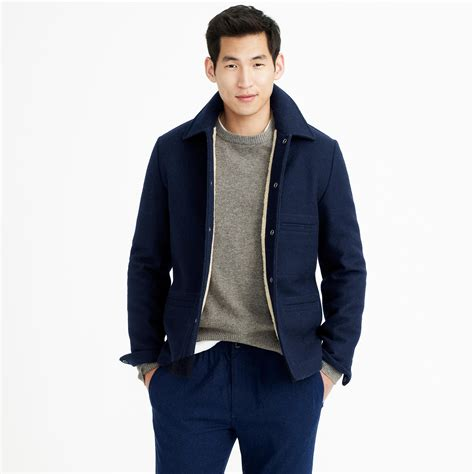 skiff jacket j crew tall skiff jacket with sherpa lining in blue for