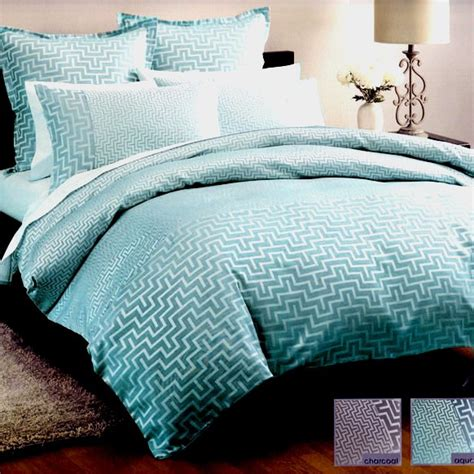 King Quilt Covers by Jacquard Linen House Harrington Aqua Teal King Quilt Doona