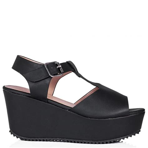 buy sandcast flatform platform sandal shoes black leather