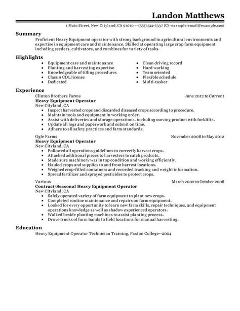 Heavy Equipment Manager Resume best heavy equipment operator resume exle livecareer