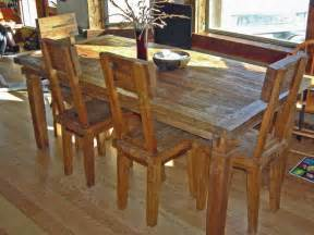 rustic reclaimed teak dining table amp chairs farmhouse