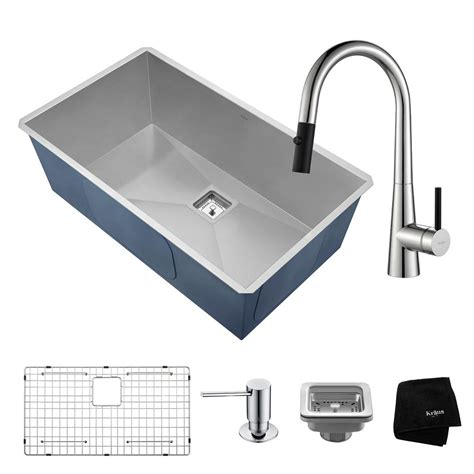 Kraus Undermount Kitchen Sink Kraus Pax All In One Undermount Stainless Steel 32 In Single Bowl Kitchen Sink With Faucet In