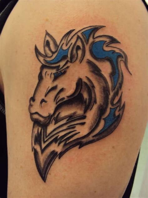 tribal horse head tattoos tribal on bicep