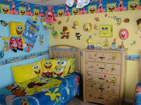 kids room wallpaper decorating ideas funny theme design spongebob squarepants theme bedroom decorations ideas for kids