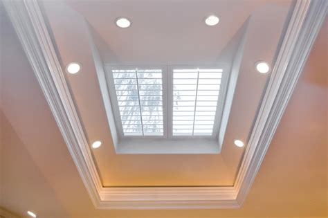 Window Treatment Topics by Skylight With Plantation Shutters Over Kitchen Island