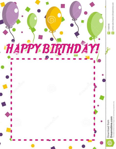 free happy birthday invitation templates happy birthday invitation stock vector illustration of