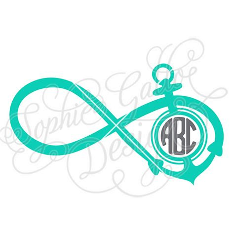 boat anchor dxf infinity anchor monogram svg dxf digital by