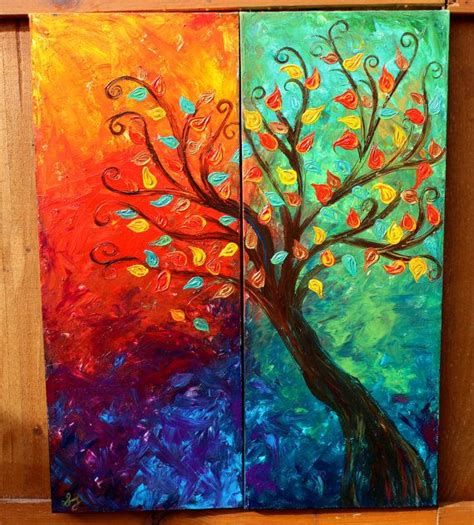 acrylic painting ideas fall colorful fall tree abstract acrylic painting 2 panels