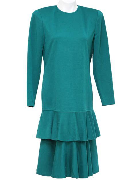 Instan Ruffle Non Pad 1980s vintage dress 80s leslie fay womens green mid