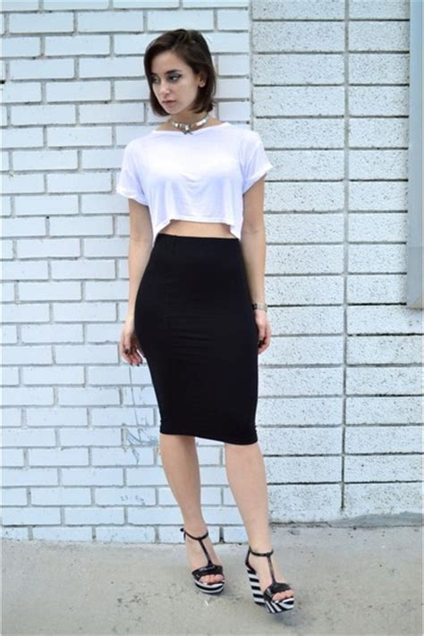 black midi forever 21 skirts white crop top boohoo tops
