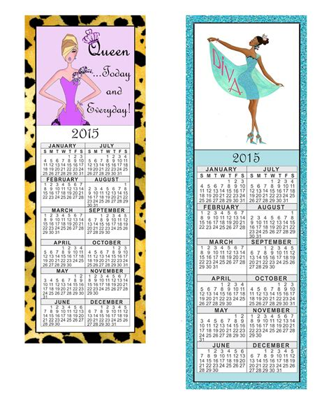 Printable Bookmark Calendar 2015 | ladydenise free printable 2015 diva calendar bookmarks
