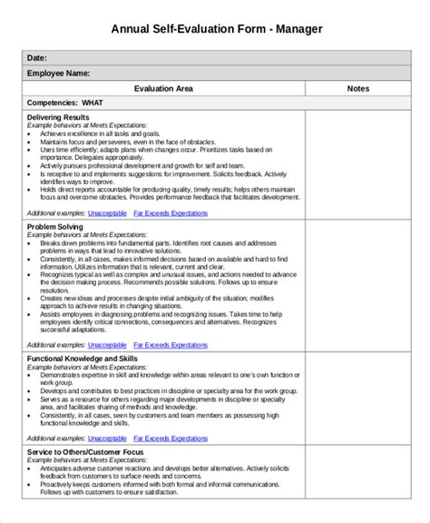 7 Sle Employee Evaluations Sle Templates Annual Employee Review Template