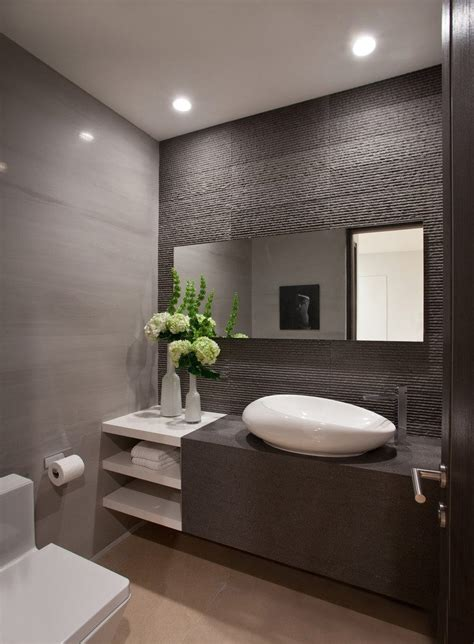 stone finish powder room contemporary with flowers