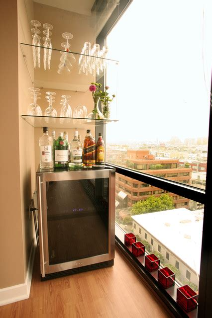 mini bar living room ballpark condo contemporary living room san francisco by susan diana harris interior design