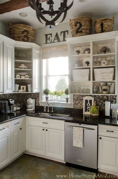beautifullovelythings above kitchen cabinet decor fall home tour fall decorating ideas stone backsplash