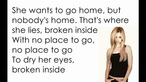 avril lavigne nobody s home lyrics letra