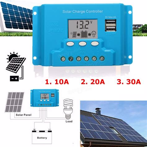 Solar Charge Controller 30 A With Usb 10a 20a 30a lcd pwm solar panel charge controller battery