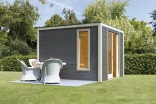 karibu gartenhaus 28 mm cubus front 320x320cm terragrau