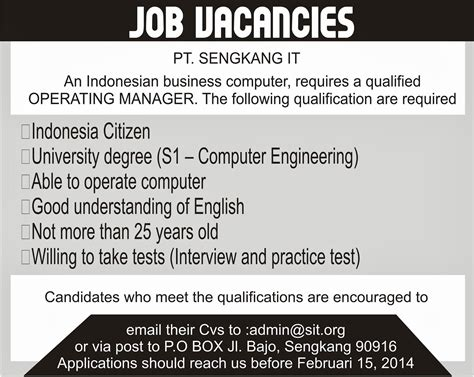Contoh Application Letter For Internship contoh advertisement vacancy www imgkid the