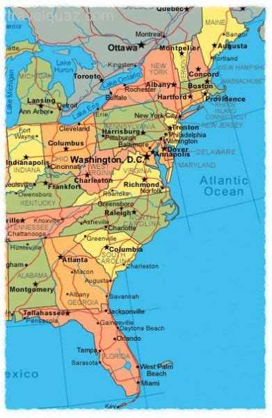 map of the east coast in usa awesome map of east coast usa travelquaz