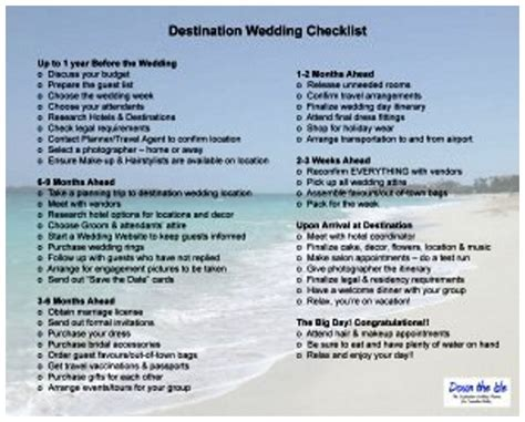 theme wedding list destination wedding checklist destination wedding favors