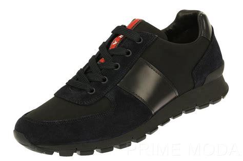 new prada sneakers new prada s black blue canvas suede logo lace up